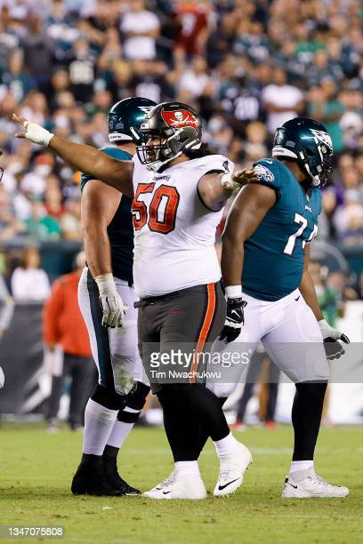 Vita Vea of the Tampa Bay Buccaneers celebrates a misses field goal by the Philadelphia Eagles at Lincoln Financial Field on October 14, 2021 in...