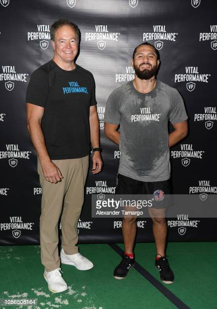 Vital Performance CEO Kurt Seidensticker and UFC fighter Jorge Masvidal are seen during the Vital Performance Tesla Exchange on July 15 2020 in Miami...