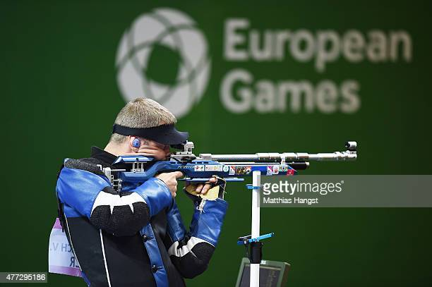 Vitali Bubnovich of Belarus competes in the Men's 10m Air Rifle during day four of the Baku 2015 European Games at Baku Shooting Centre on June 16...