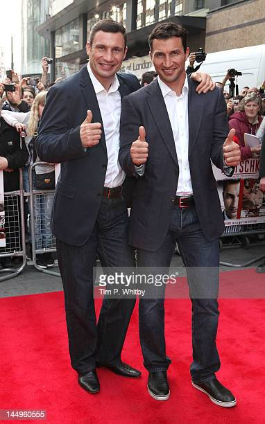 Vitali Klischko and Wladimir Llischko attend the UK Premiere of 'Klitschko' at Empire Leicester Square on May 21 2012 in London England