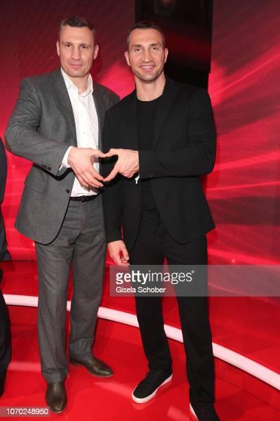 Vitali Klitschko and his brother Wladimir Klitschko during the Ein Herz Fuer Kinder Gala at Studio Berlin Adlershof on December 8, 2018 in Berlin,...