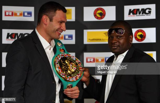 Vitali Klitschko and Kevin Johnson pose for the media during a press conference at the Post Finance Arena on October 23, 2009 in Bern, Switzerland....