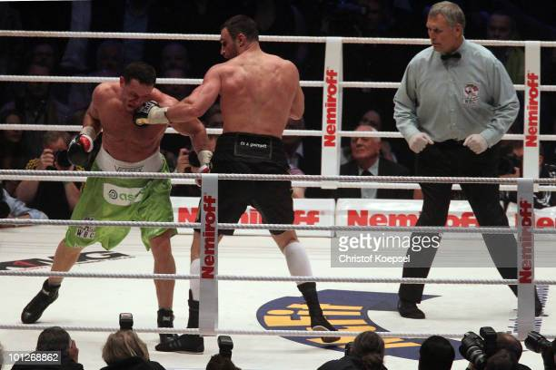Vitali Klitschko lands a punch on Albert Sosnowski of Poland during the WBC Heavyweight World Championship fight between Vitali Klitschko of Ukraine...