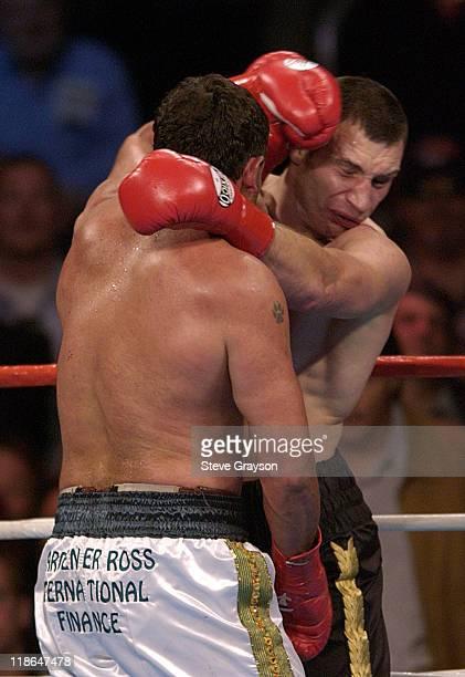 Vitali Klitschko lands a punch on Corrie Sanders during the eighth round of their 12round WBC heavyweight championship bout in Los Angeles Saturday...