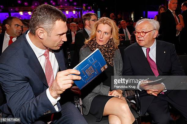 Vitali Klitschko Maria Furtwaengler and Hubert Burda during the VDZ Publishers' Night 2016 at Deutsche Telekom's representative office on November 7...