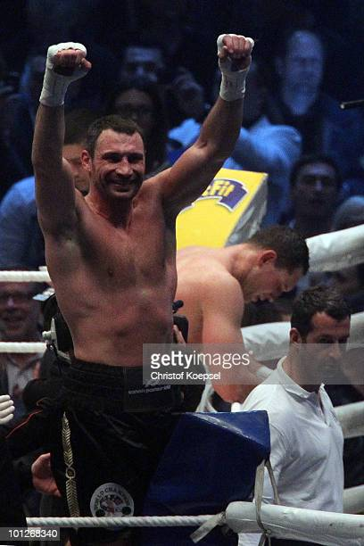 Vitali Klitschko of Ukraine celebrates after winning after a knockout in the tenth round against Albert Sosnowski of Poland the WBC Heavyweight World...