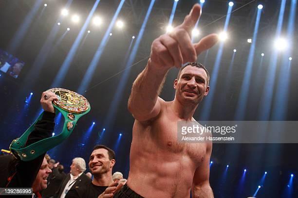Vitali Klitschko of Ukraine celebrates after winning his WBC Heavyweight World Championship fight against Dereck Chisora of Great Britain at Olympia...