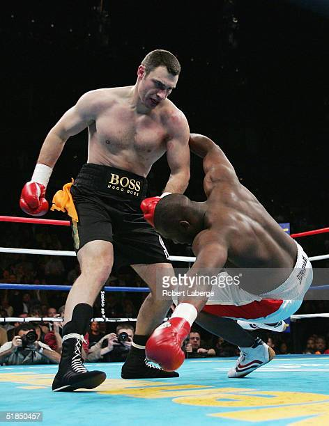 Vitali Klitschko of Ukraine knocks down Danny Williams of England in the first round during a fight on December 11 2004 at The Mandalay Bay in Las...