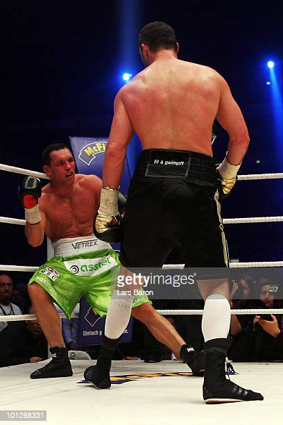 Vitali Klitschko of Ukraine knocks out Albert Sosnowski of Poland during the WBC Heavyweight World Championship fight between Vitali Klitschko of...
