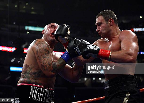Vitali Klitschko of Ukraine lands a right to the face of Chris Arreloa during their WBC World Championship Heavyweight at the Staples Center on...