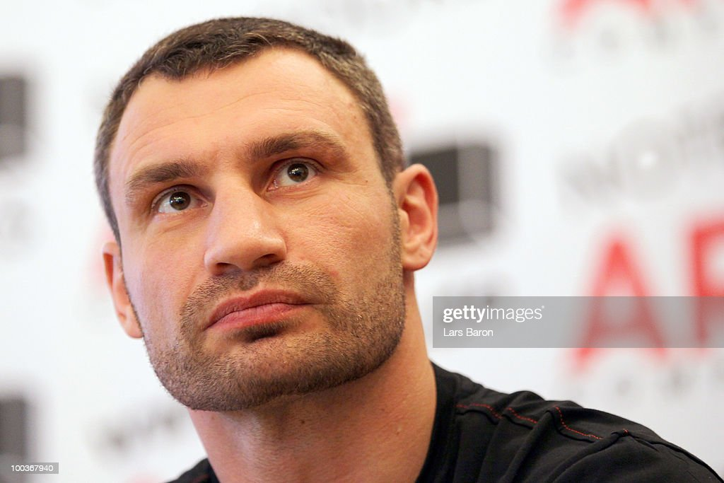 Vitali Klitschko of Ukraine looks on during a press conference at Stadtgarten Steele on May 24, 2010 in Essen, Germany. The WBC Heavyweight World Championship fight between Vitali Klitschko of Ukraine and Albert Sosnowski of Poland will take place at the Veltins Arena on May 29, 2010 in Gelsenkirchen, Germany.