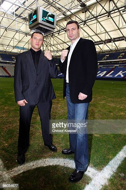 Vitali Klitschko of Ukraine poses with Albert Sosnowski of Poland before the press conference at Veltins Arena on March 25 2010 in Gelsenkirchen...