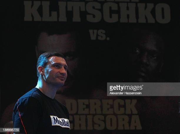 Vitali Klitschko of Ukraine smiles after a public training session at Mercedes Benz show room on February 15 2012 in Munich Germany Vitali Klitschko...