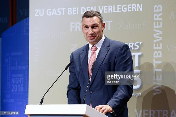 Vitali Klitschko speaks during the VDZ Publishers' Night 2016 at Deutsche Telekom's representative office on November 7 2016 in Berlin Germany