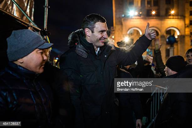 Vitali Klitschko the reigning world heavyweight boxing champion and leader of opposition party the Ukrainian Democratic Alliance for Reform gives a...
