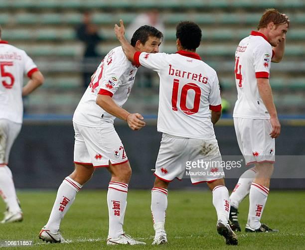 Vitali Kutuzov of Bari celebrates his goal during the Serie A match between Bari and Milan at Stadio San Nicola on November 7, 2010 in Bari, Italy.