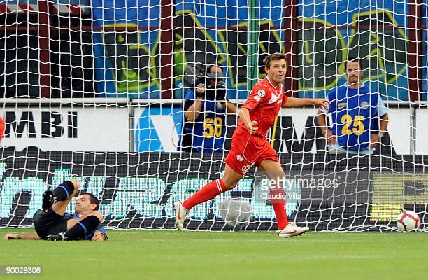Vitali Kutuzov of Bari celebrates scoring the 1:1 equaliser during the Serie A match between Inter Milan and Bari at Giuseppe Meazza Stadium on...