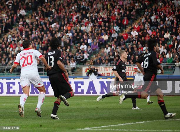 Vitali Kutuzov of Bari scores his goal during the Serie A match between Bari and Milan at Stadio San Nicola on November 7, 2010 in Bari, Italy.