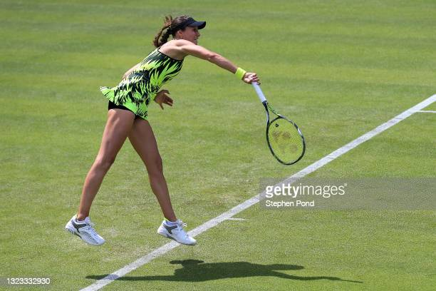 Vitalia Diatchenko of Russia in action against Naiktha Baines of Great Britain in qualifying during the Viking Classic Birmingham at Edgbaston Priory...