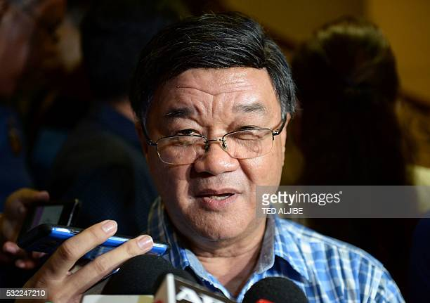 Vitaliano Aguirre tapped to be the next Philippines' Justice Secretary speaks to members of the media after meeting Presidentelect Rodrigo Duterte at...