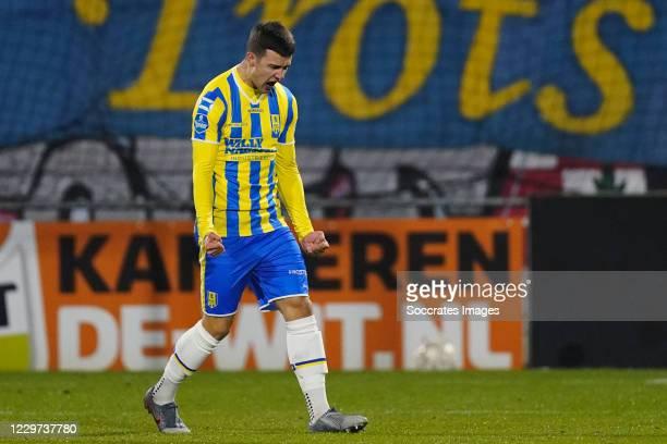 Vitalie Damascan of RKC Waalwijk celebrates 1-1 during the Dutch Eredivisie match between RKC Waalwijk v SC Heerenveen at the Mandemakers Stadium on...