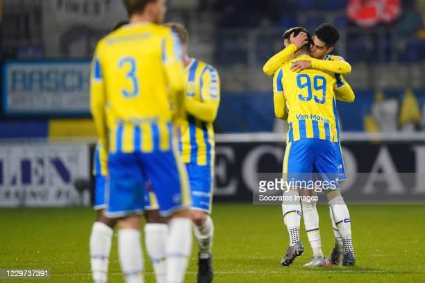 Vitalie Damascan of RKC Waalwijk celebrates 1-1 with Anas Tahiri of RKC Waalwijk during the Dutch Eredivisie match between RKC Waalwijk v SC...
