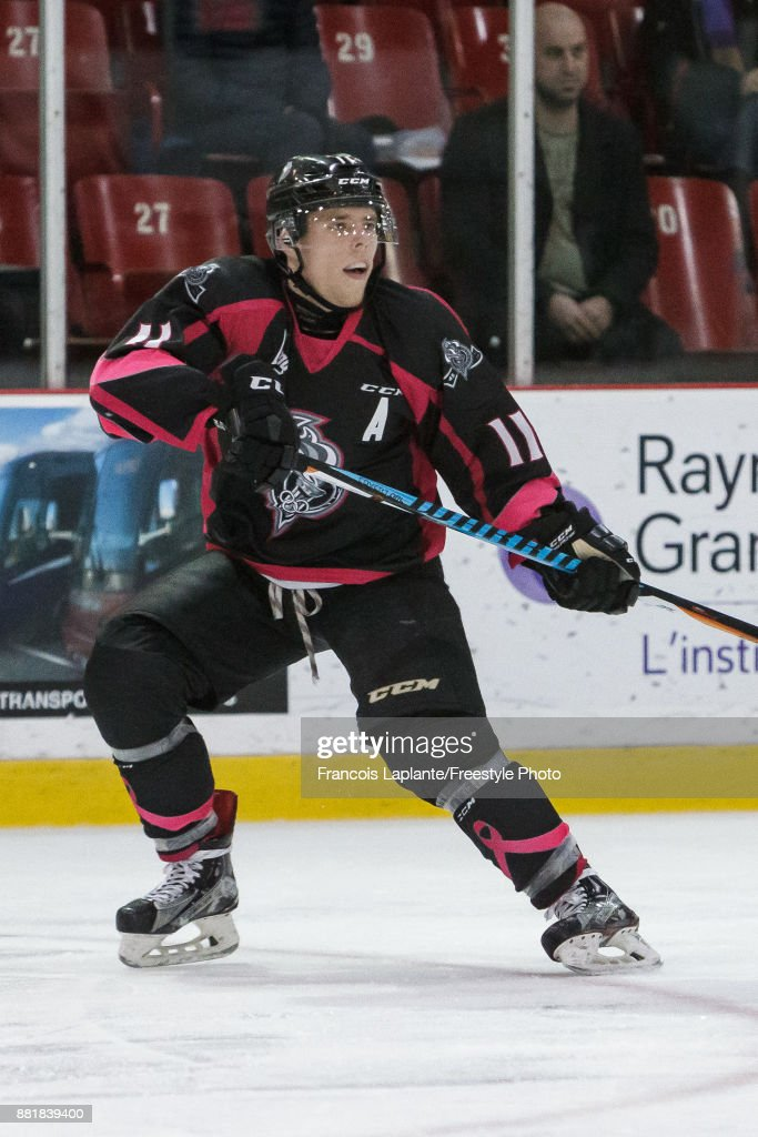 Vitalii Abramov #11 of the Gatineau Olympiques skates against the Moncton Wildcats on November 1, 2017 at Robert Guertin Arena in Gatineau, Quebec, Canada.