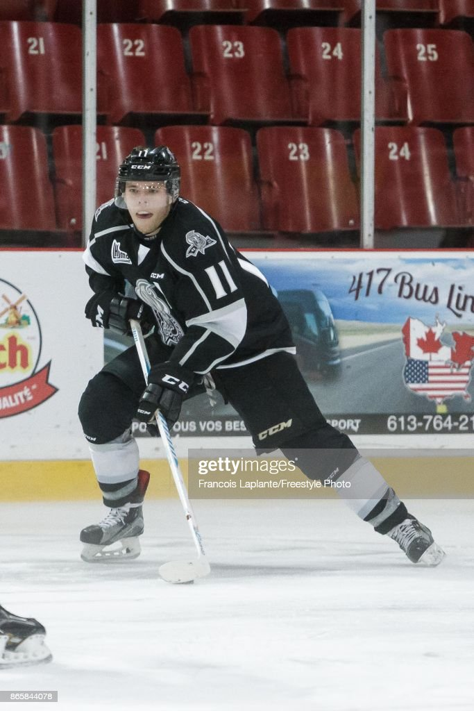 Vitalii Abramov #11 of the Gatineau Olympiques skates against the Val-d'Or Foreurs on October 8, 2017 at Robert Guertin Arena in Gatineau, Quebec, Canada.