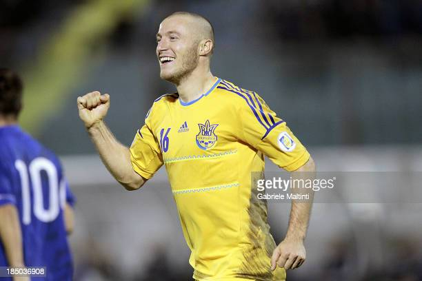 Vitalii Mandzink of Ukraine celebrates after scoring a goal during the FIFA 2014 World Cup Qualifier Group H match between San Marino and Ukraine at...