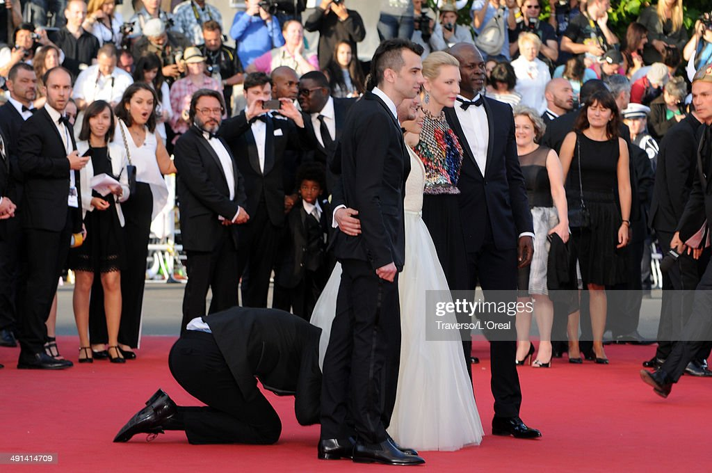 Vitalii Sediuk invades the Red Carpet as Jay Baruchel, Kit Harington, America Ferrera, Cate Blanchett and Djimon Hounsou pose at the 'How To Train Your Dragon 2' premiere during the 67th Annual Cannes Film Festival on May 16, 2014 in Cannes, France.