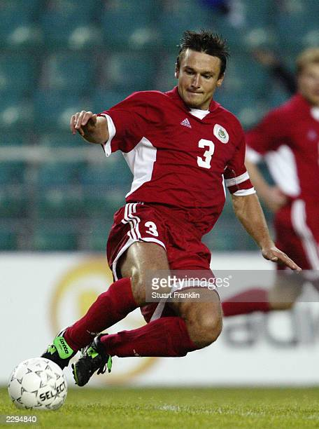 Vitalijs Astafjevs of Latvia in action during the Baltic Cup match between Latvia and Estonia held on July 5 2003 at the ALe Coq Arena in Tallinn...