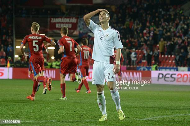 Vitalijs Maksimenko of Latvia reacts during the Group A Euro 2016 qualifying football match between Czech Republic and Latvia on March 28 2015 in...