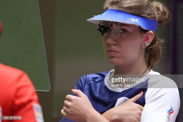 Vitalina Batsarashkina of Team ROC competes in 25m Pistol Women's Qualification on day seven of the Tokyo 2020 Olympic Games at Asaka Shooting Range...