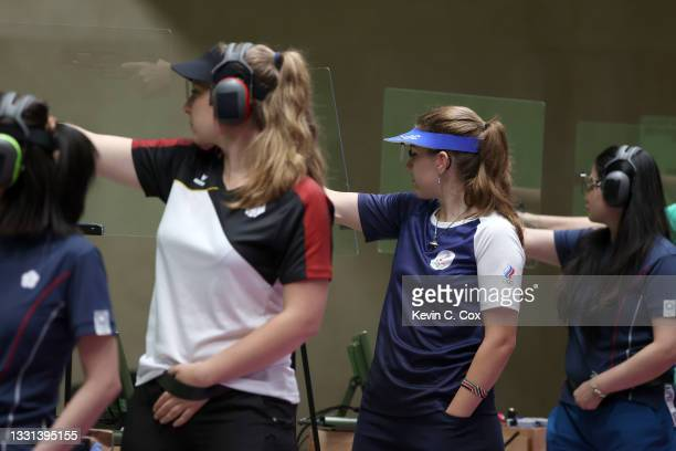 Vitalina Batsarashkina of Team ROC competes in 25m Pistol Women's Finals on day seven of the Tokyo 2020 Olympic Games at Asaka Shooting Range on July...