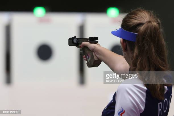 Vitalina Batsarashkina of Team ROC during 25m Pistol Women's Precision Stage on day six of the Tokyo 2020 Olympic Games at Asaka Shooting Range on...