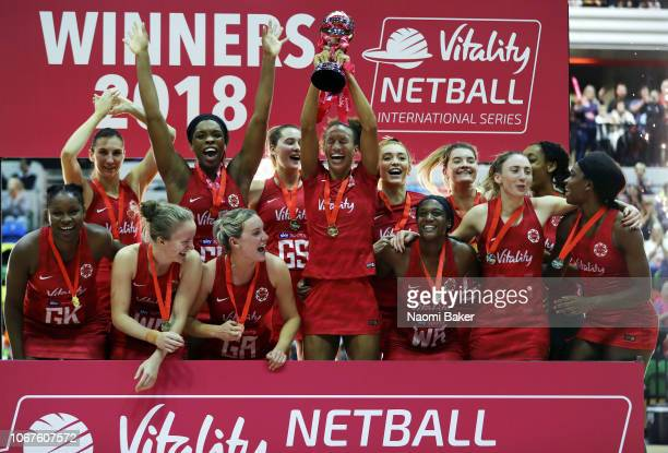 Vitality Roses of England celebrate during the trophy presentation after they win all three matches of the series to take the victory during the...