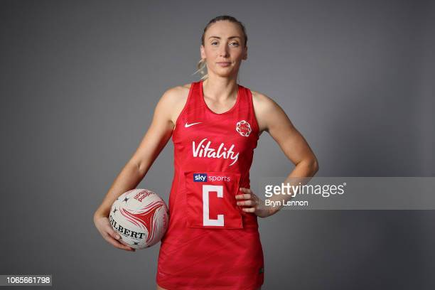 Vitality Roses player Jade Clarke of England poses for a photo at Loughborough Netball Centre on November 21 2018 in Loughborough England