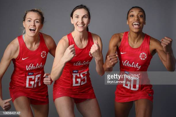 Vitality Roses players Ella Clark Rachel Dunn and Layla Guscoth pose for a photo at Loughborough Netball Centre on November 21 2018 in Loughborough...