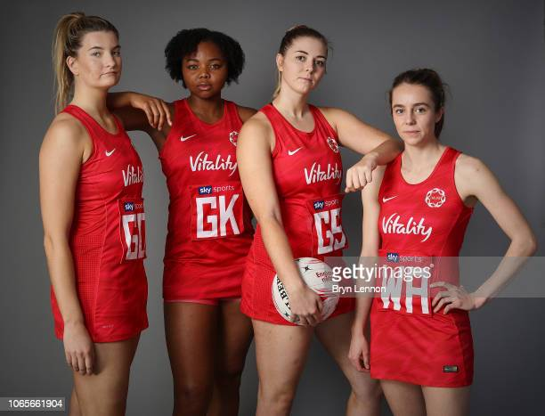Vitality Roses players Francesca Williams Summer Artman Eleanor Cardwell and Iona Darroch pose for a photo at Loughborough Netball Centre on November...