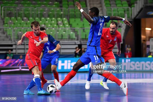 ... UEFA Futsal EURO 2018. ED. Editorial use only. Vitaliy Borisov of  Azerbaijan and Magana Landry N Gala of France in action during the 0317bd81ee052