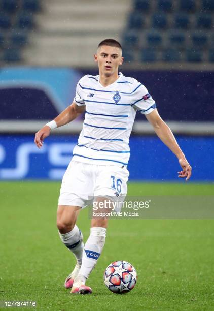 Vitaliy Mykolenko of Kyiv in action during the UEFA Champions League PlayOff first leg match between KAA Gent and Dynamo Kyiv at Ghelamco Arena on...