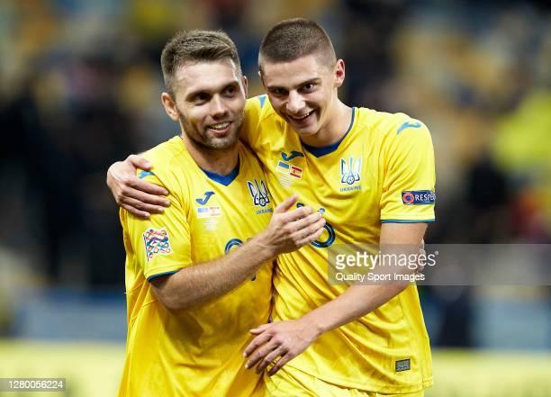 Vitaliy Mykolenko of Ukraine and Oleksandr Zubkov of Ukraine celebrate after the UEFA Nations League group stage match between Ukraine and Spain at...
