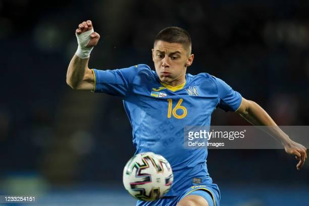 Vitaliy Mykolenko of Ukraine controls the ball during the international friendly match between Ukraine and Northern Ireland at Dnipro-Arena on June...