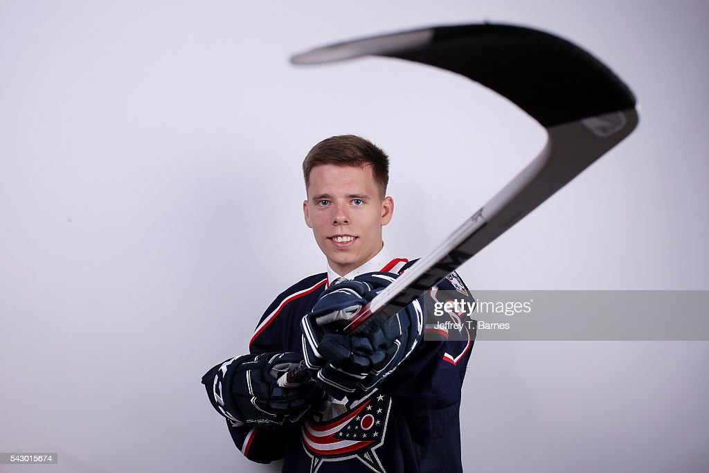 Vitaly Abramov poses for a portrait after being selected 65th overall by the Columbus Blue Jackets during the 2016 NHL Draft on June 25, 2016 in Buffalo, New York.