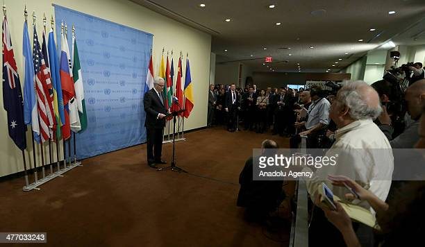 Vitaly Churkin Russia's Ambassador to the United Nations speaks to the media after a United Nations Security Council meeting on the situation in...