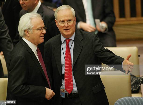 Vitaly Churkin Russia's ambassador to the United Nations talks with Mark Lyall Grant permanent representative of the United Kingdom before the...