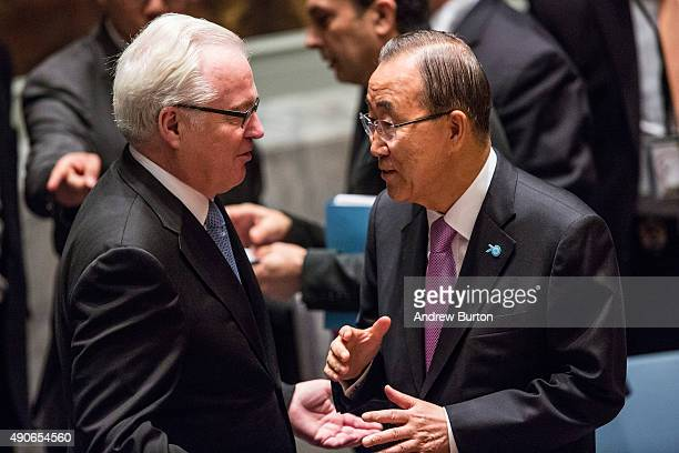 Vitaly Churkin Russia's Permanent Representative to the United Nations speaks to Ban Kimoon Secretary General of the UN prior to a UN Security...