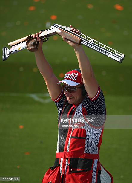Vitaly Fokee of Russia celebrates after winning the Men's Double Trap Shooting final during day seven of the Baku 2015 European Games at the Baku...