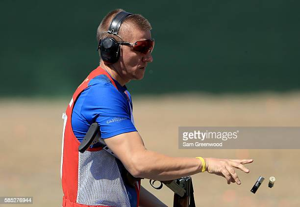 Vitaly Fokeev of Russia during a practice session at the Olympic Shooting center on August 2 2016 in Rio de Janeiro Brazil