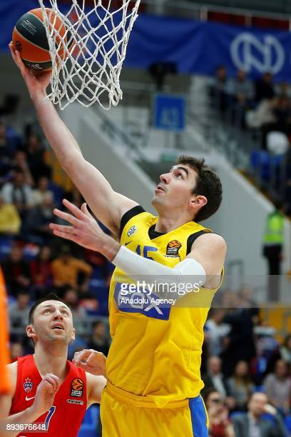 Vitaly Fridzon of CSKA Moscow vies with Jake Cohen of Maccabi Fox during the Turkish Airlines Euroleague match between CSKA Moscow and Maccabi Fox at...